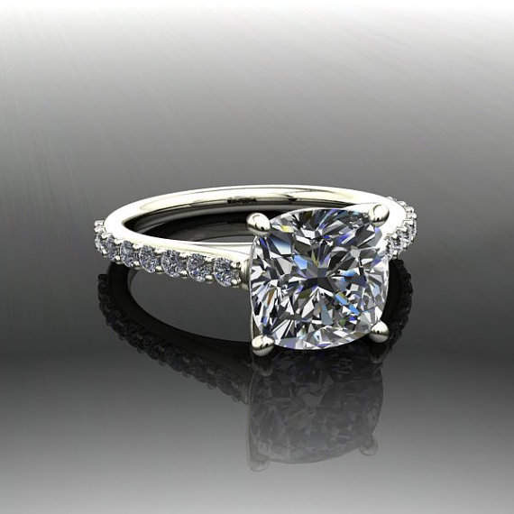 Moissanite Cushion Cut Engagement And Diamond Engagement Ring Forever Brilli