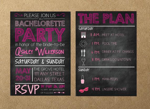 Свадьба - Bachelorette Party Invitation- Printable File- Chalkboard Invite- Digital Invitation