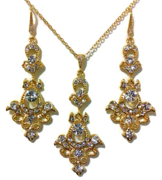 Mariage - Gold Bridal Jewelry Set, Victorian Wedding, Damask Earrings, Dangle Necklace, Swarovski Crystal, MATAHARI