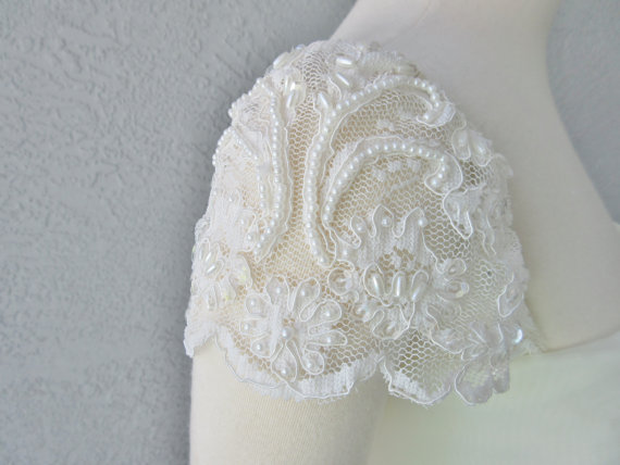 Detachable Ivory Beaded Lace Cap Sleeves To Add Your Wedding Dress It Can Be Customize