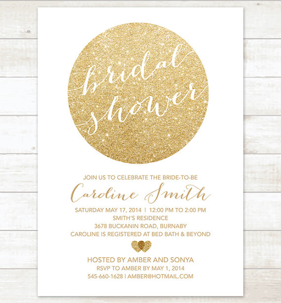 gold and white bridal shower invitation white and gold glitter printable modern wedding shower digital invite customizable