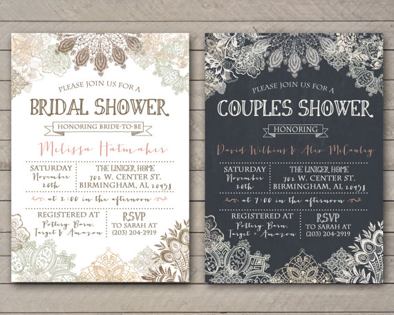 vintage lace shower couples baby printable file only