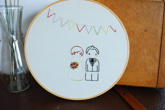 Hochzeit - The Peg Doll Wedding, Personalized Wedding Embroidery Pattern, Wedding Sewing Pattern, Custom Wedding Decor