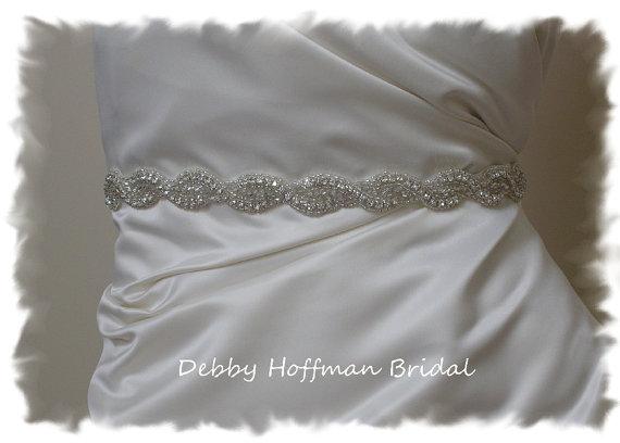 Mariage - Bridal Belt, 28 inch Wedding Dress Sash, Beaded Rhinestone Crystal Belt, Sash No. 1126S-28  Made to Order Wedding Accessories, Belts, Sashes