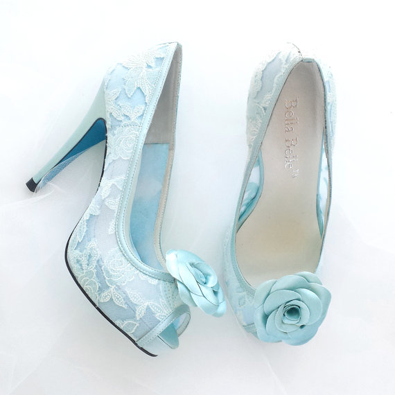 Mariage - Something Blue Wedding Shoes Mint Floral Lace Peep Toe Bridal Pumps with Handmade Rosette Shoe Clips
