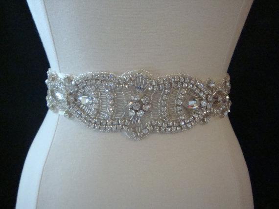 Mariage - Bridal Sash - Wedding Dress Sash Belt - Crystal Rhinestone Wedding Sash - Ivory Rhinestone Bridal Sash