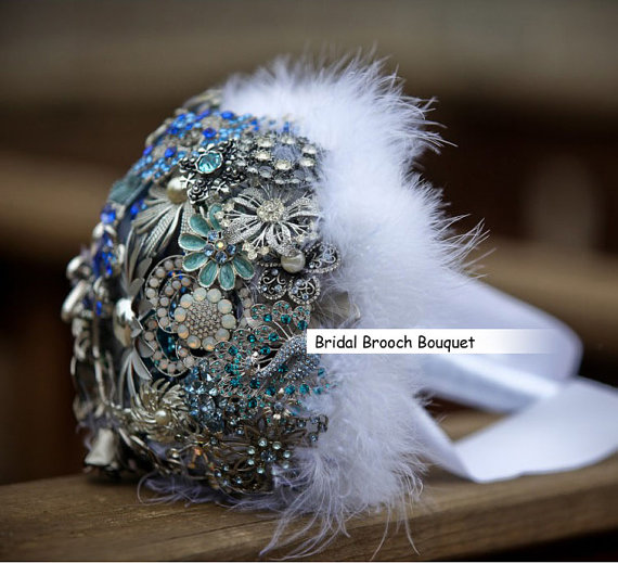 Mariage - 9 Inch 9 Inch Bridal Flower Wedding Feather Jewelry Brooch Bouquet Bling Crystal Pearl Rhinestone made A Fairy in the Clouds-13