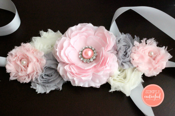 Pink Gray Maternity Sash Maternity Belt Baby Shower Sash