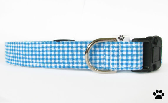 Свадьба - Blue gingham collar - dog collar, cat collar, pet collar