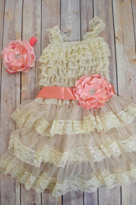 Wedding - Coral Peach Beige Lace Flower Girl Dress Headband set, Peach Wedding dress, Coral Wedding, Green Wedding,  Vintage Style Petti Dress