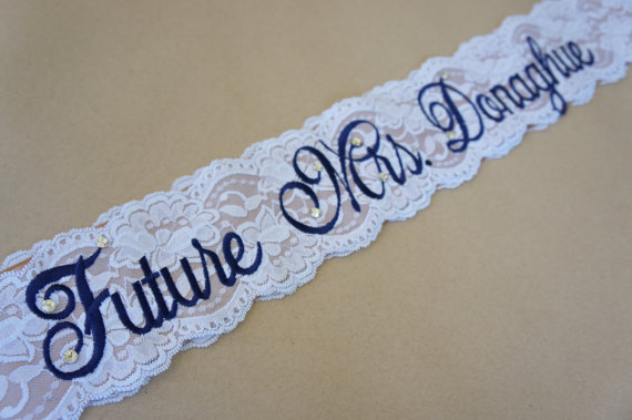 Hochzeit - Champagne and Navy Lace Bridal Sash - Navy, White and Champagne Bachelorette Sash - Customizable Bacelorette Sash