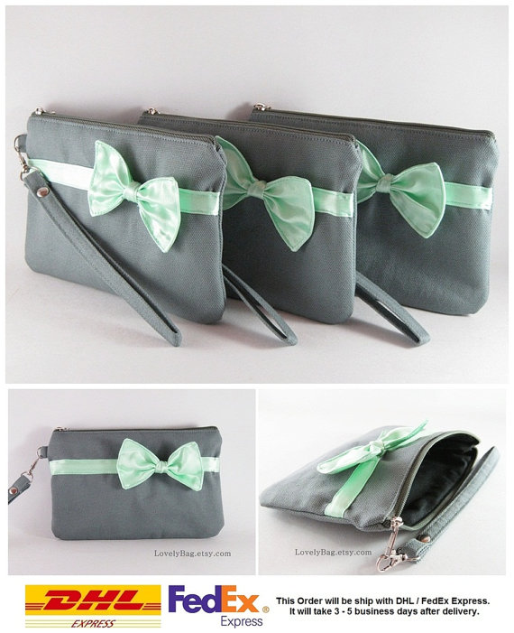 Mariage - Bridesmaids Gifts Wedding Party Purses - Set of 5 Gray with Little Mint Bow Clutches