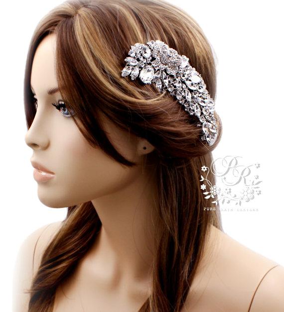 Hochzeit - Wedding Hair Comb Rhinestone Crystal Bridal hair comb Wedding Jewelry Bridal Jewelry Statement Comb hair accessory Bridal Hair Comb rose