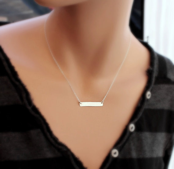Свадьба - Bar Initial Necklace, SILVER Bar Necklace, Rectangle Monogram Charm Necklace, Bar Jewelry, Modern Necklace, Bridesmaid's Gifts