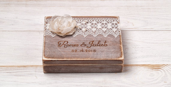 Personalized Ring Bearer Box Wedding Ring Box Rustic Vintage Wedding