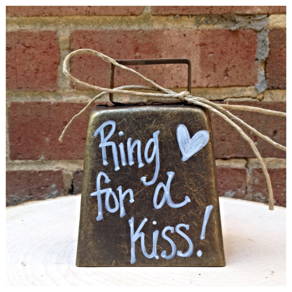 "Свадьба - Bronze Kissing Bell ""Ring For A Kiss"" Wedding Decor Ring for a Kiss"