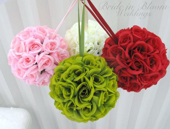 Свадьба - Flower girl Pomander Kissing ball Wedding decorations Ceremony Aisle runners