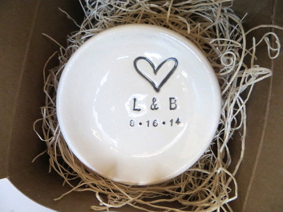 Hochzeit - ring dish, wedding ring holder,  engagement gift,   Personalized dish, handmade earthenware pottery, Gift Boxed, Made to order