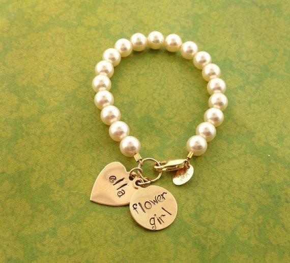 Свадьба - Flower girl bracelet, flower girl jewelry, wedding gifts, bridesmaids, wedding jewelry, wedding gifts, Swarovski pearls
