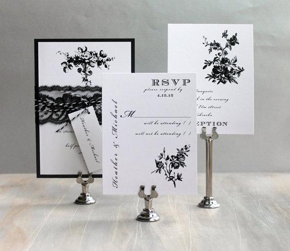 """Свадьба - Modern Floral Wedding Invitations, Modern Wedding, Elegant Wedding Invitations - """"All Black"""" - Deposit"""