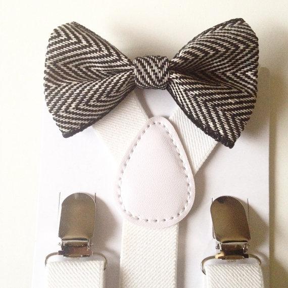 Свадьба - Suspender & Bowtie set Black and White Baby bow tie Suspenders Chevron Boys Bowties white Toddler Necktie Men bowtie Wedding Ring Bearer