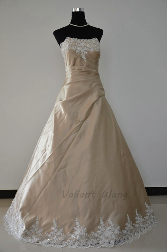 Champagne satin ivory lace beading wedding gown sweetheart for Ivory champagne wedding dress