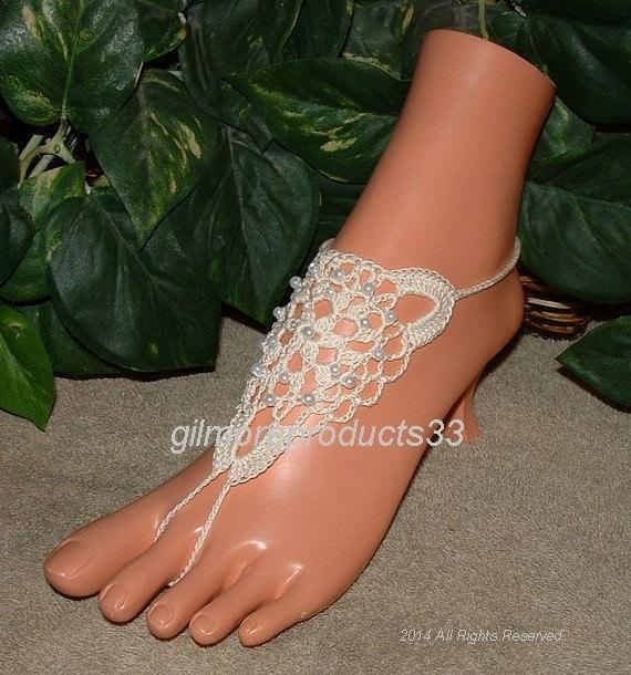 Wedding - Pearl barefoot sandals wedding shoes bridal foot anklet jewelry yoga legwear barefoot sandals crochet barefoot sandals crochet sandals