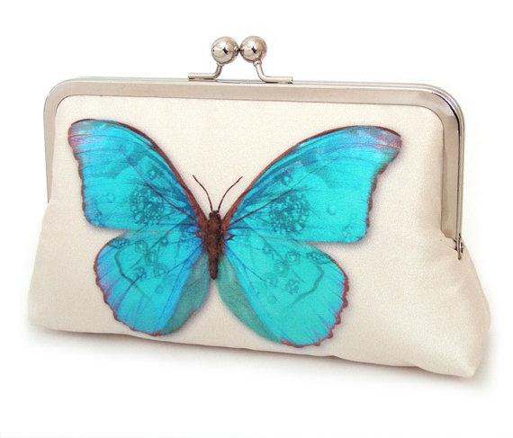 Wedding - Clutch bag, silk purse, wedding bag, bridesmaid gift, BLUE BUTTERFLY