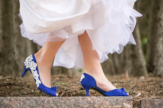 Свадьба - Wedding Heels - Royal Blue Wedding Shoes, Blue Bridal Heels with Ivory Lace. US Size 8.5