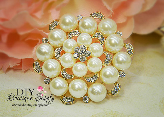Wedding - Gold Brooch Pearl Brooch Rhinestone Brooch Bouquet Wedding Bridal Wedding Accessories Sash Pin 52mm 371191