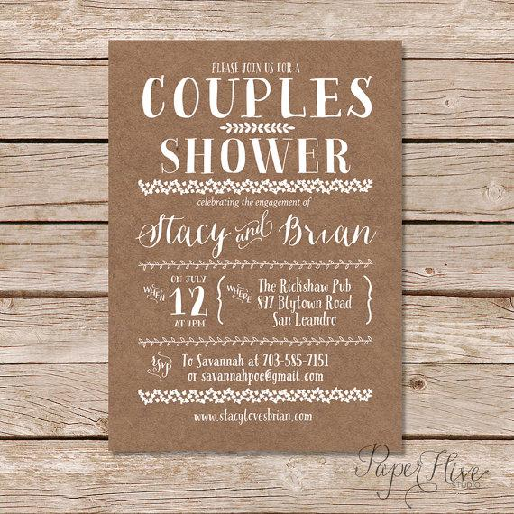 Couples Shower Invitation Kraft Paper Background Rustic Wedding Digital Printable File