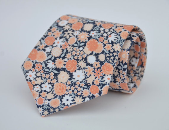 Свадьба - Boys Necktie Navy Blue and Coral Peach Floral