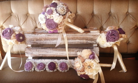 Свадьба - Resrerved Wedding bouquet set , matching men buttonholes, bridal bouquet, bridesmaids bouquets, purple bouquet