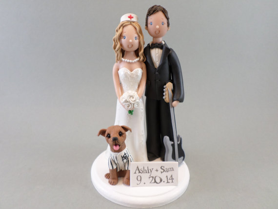 Nurse Guitarist Customized Wedding Cake Topper