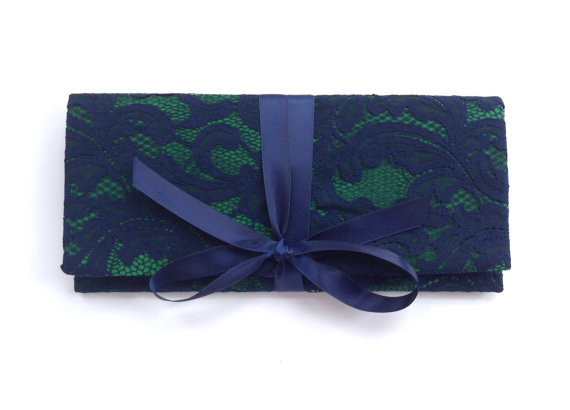 Hochzeit - Navy floral lace bridesmaid clutch // wedding clutch purse // custom colors available // emerald, Champagne, mint, coral