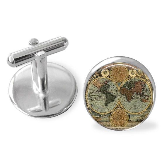 Mariage - Antique GLOBE CUFF LINKS / Old World Map Cufflinks / Groomsmen Gift / Gift for Him / Travel theme / Gift for Pilot / Silver / Gift boxed