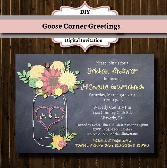 Свадьба - Chalkboard Floral Mason Jar Bridal Shower Invitation-Rustic-Wedding Shower-Pink-Mason Jar Invitation--Mason Jar
