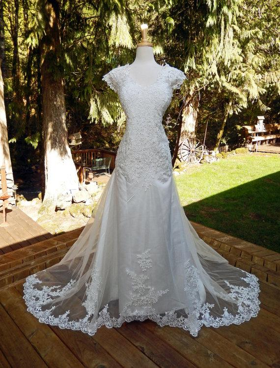 Mariage - The Illusion Beauty-Hand made Alencon Lace and Tulle Wedding Dress-Illusion Back-Full sweep Train-Sexy Alluring-CRBoggs Designs Handmade