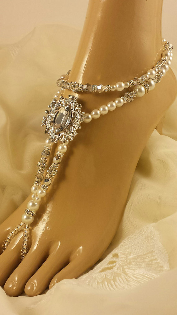 Mariage - Barefoot Sandals Wedding Foot Jewelry Anklet Rhinestone Barefoot Sandles Beach Wedding