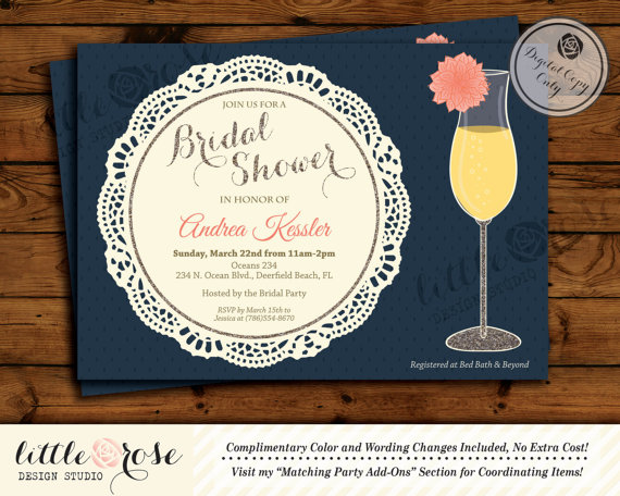 dahlia flower mimosa bridal shower invitation bridal luncheon invite bridal brunch invitation doily printable