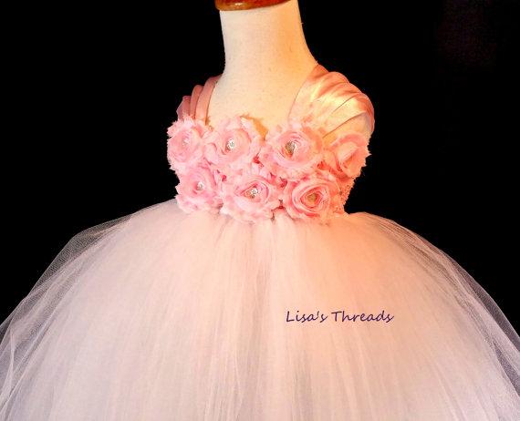 Mariage - Light pink flower girl dress/ Junior bridesmaids dress/ Flower girl pixie tutu dress/ Rhinestone tulle dress