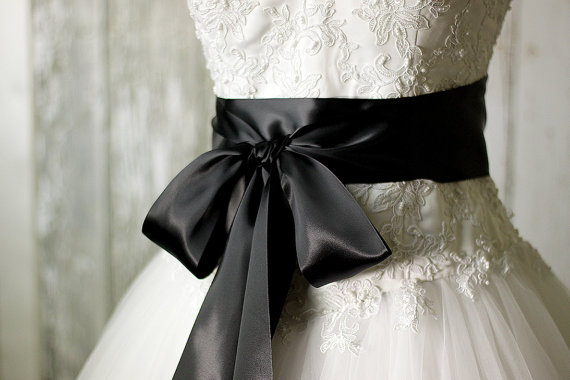 796264f62197 Bridal Sash - Romantic Luxe Satin Ribbon Sash - Wedding Sashes - Blackest Black  Bridal Belt