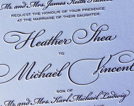 Свадьба - Letterpress Wedding Invitation - Traditional - Sample
