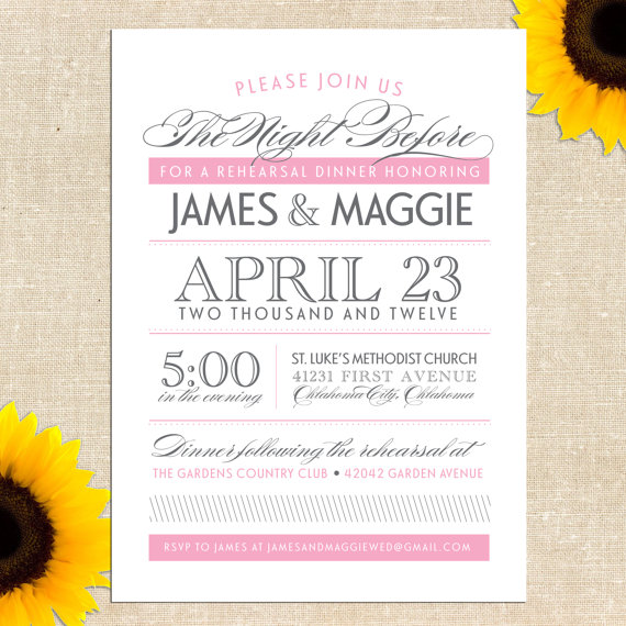 Hochzeit - Maggie Rehearsal Dinner Invitation - Printed Invitations or Printable Files