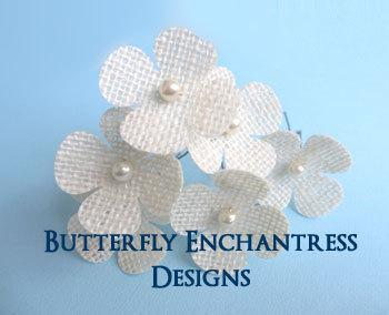 Свадьба - Burlap Wedding, Rustic Woodland Wedding, Bridal Hair Accessories - 6 Ivory Burlap Hydrangea Hair Pins