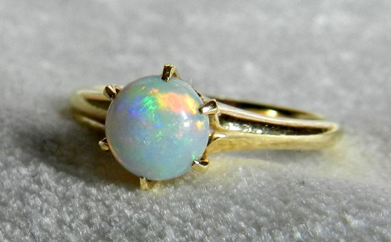 Hochzeit - Opal Engagement Ring, Antique Australian Blue Opal Victorian Engagement Ring 14K 1800s, October