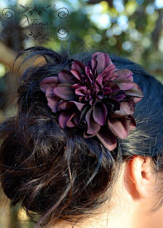 Hochzeit - Forever Romance Deep Purple Plum Dahlia Wedding Veil Flower Bridal Hair Clip Fascinator Eggplant