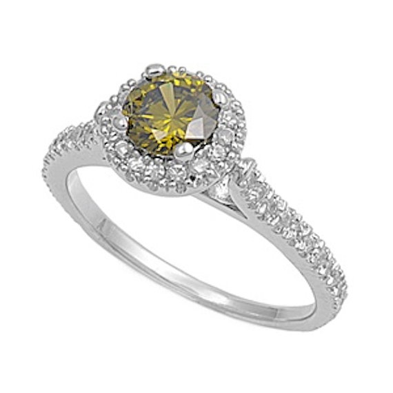 Свадьба - 1.30 Carat Round Cut Deep Peridot Green Russian CZ Diamond Accent Dazzling 925 Sterling Silver Wedding Engagement Anniversary Halo Ring Top