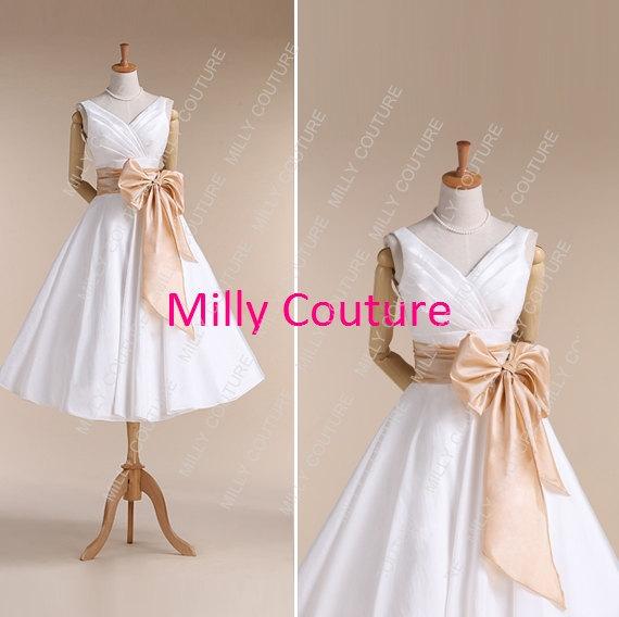 Mariage - short wedding dress, 1950's wedding dress,tea length wedding dress , simple short wedding dress,vintage wedding dress,item:Fairy