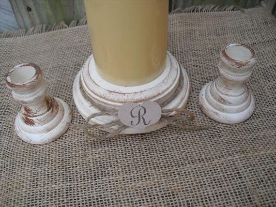 Свадьба - Shabby Chic Wood Wedding Monogram Unity Candle Holder Set - You Pick Color - Item 1559